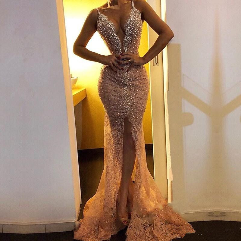 Sexy 2019   Prom     Dresses   Mermaid Spaghetti Straps Lace Pearls Slit Sexy Party Maxys Long   Prom   Gown Evening   Dresses   Robe De Soiree