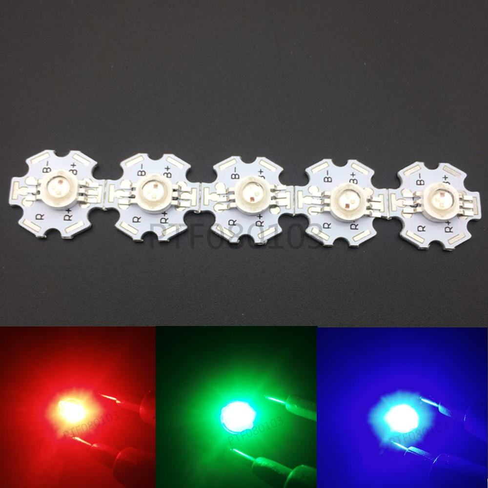 Freeshipping!10pcs 3W RGB Color High Power 6pin LED Chip Light with 20MM star base for R ...