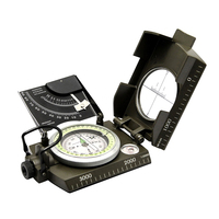 Professional Metal Military Army Sighting Inclinometer Compass With Luminous Outdoor Survival Tool Green