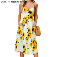 Chu Ni Strap Sunflower Print Summer Dress Women Casual V Neck Backless Bohemian Dress Vestidos High