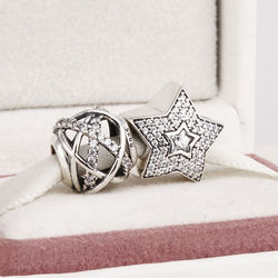 Fits Pandora Charms Bracelet and Necklace 925 Sterling Silver Charm Sets Star Crystal Beads Women DIY Design Drop Shipping