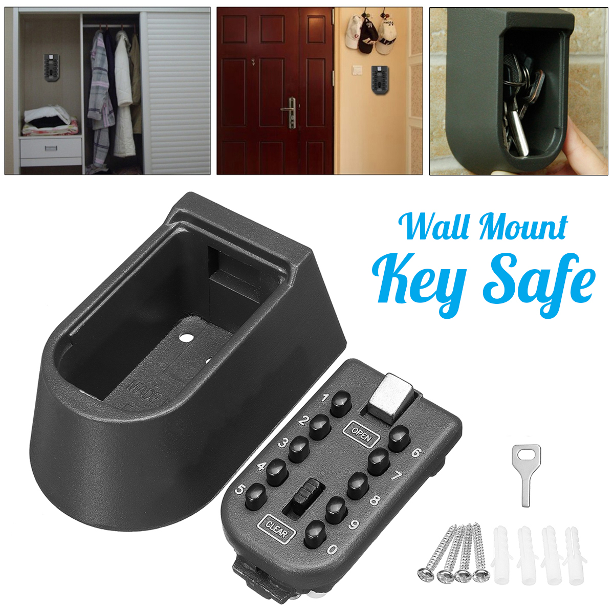 Lock Storage Box Outdoor Wall Mount Key Safe Combination