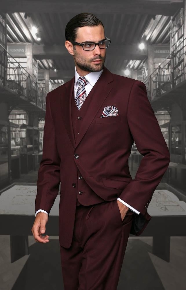 Adaptable Bruidegom Smoking Bourgondië Mannen Wedding Tuxedos Notch Revers Side Vent Mannen Jas Blazer 3 Stuk Pak (jasje + Broek + Tie + Vest) 81