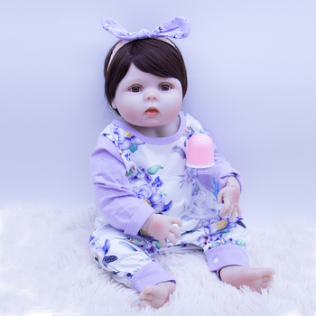 latest design round face Lolita Princess Lifelike newborn Baby girl  all silicone Bonecas Bebe Reborn doll puppen toy boneca de
