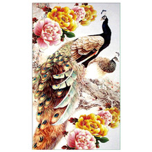 CaiLong1990 New 5d DIY Diamond Peacock Cross Stitch Embroidery Animal Mosaic Painting Rhinestone Decoration