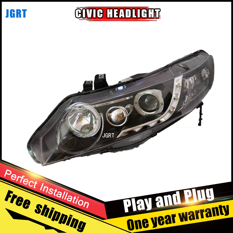 2PCS Car Style LED headlights for Honda Civic 2007-2011 for Civic head lamp LED DRL Lens Double Beam H7 HID Xenon bi xenon lens hireno car styling headlamp for 2011 15 honda civic headlight assembly led drl angel lens double beam hid xenon 2pcs