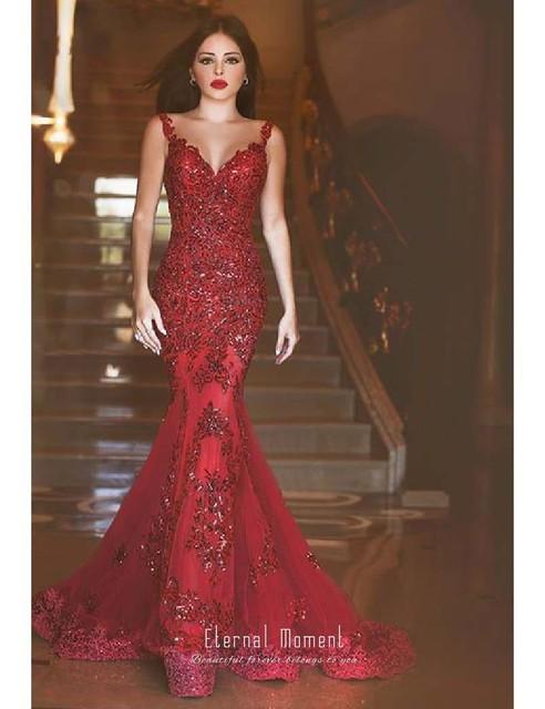 e09874545 Simple Largo Elegante Encaje Con Rojo 2018 Fiesta Noche Vestidos De Vino  Sirena Lentejuelas Vestido qVpzSUM