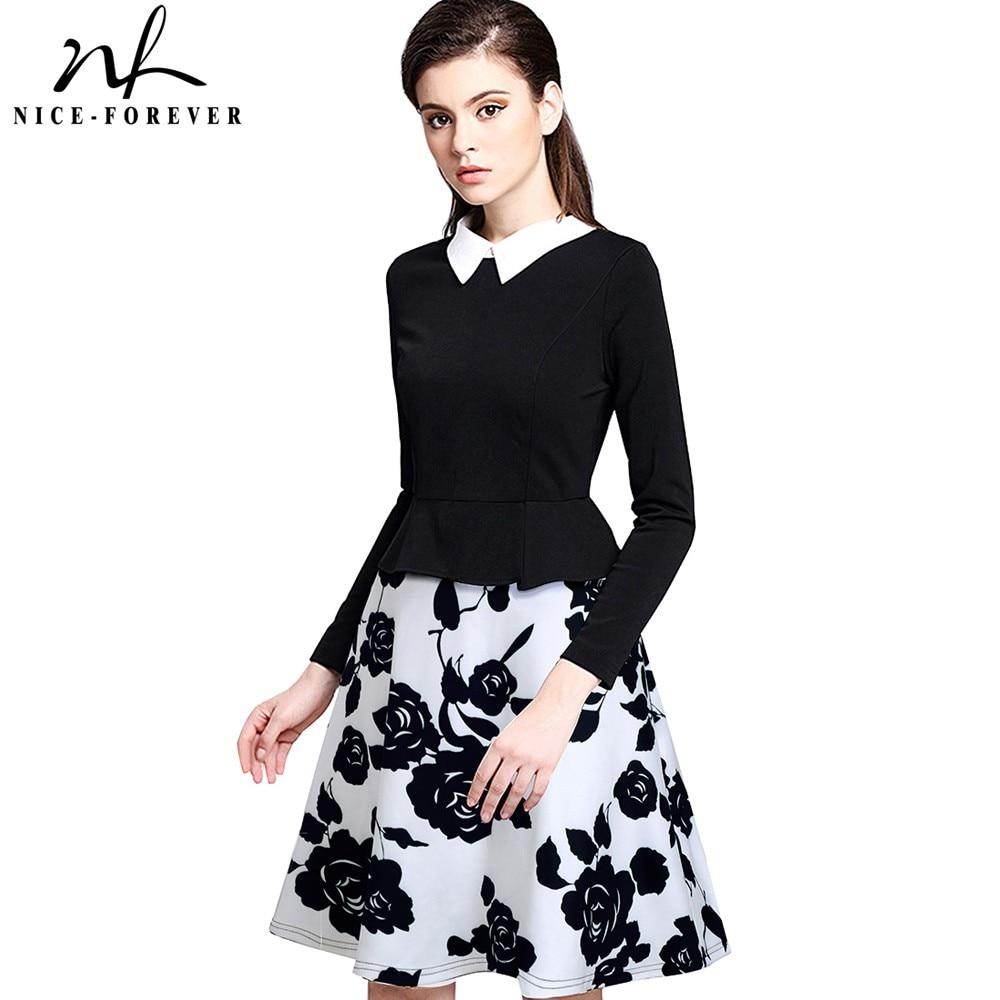 Nice-forever Retro Elegant Flower Print Zipper Turn-down Collar Women Long Sleeve Celebrity A-Line Female Dress A027