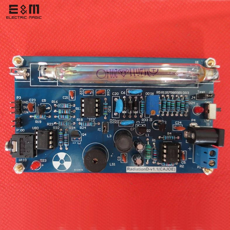 E&M Portable Handle Geiger Counter Assembled DIY Nuclear Radiation Detector With Miller GM Tube Gamma Beta Ray Suit for Arduino