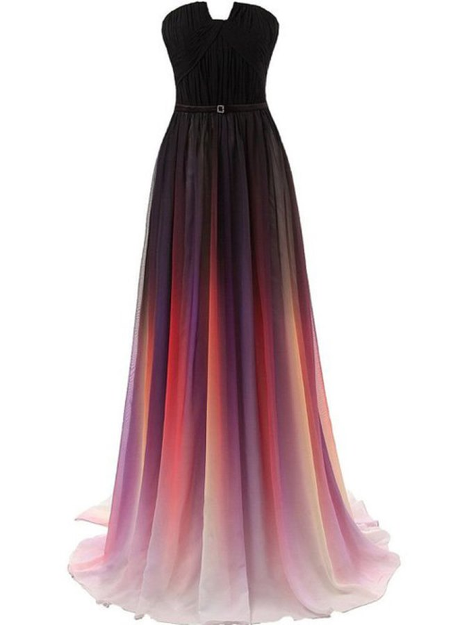 Vestidos De Novia 2018 Strapless Pleats Fading Color Long Evening Gowns Bride Banquet Prom Party Dresses Robe De Soriee Customed