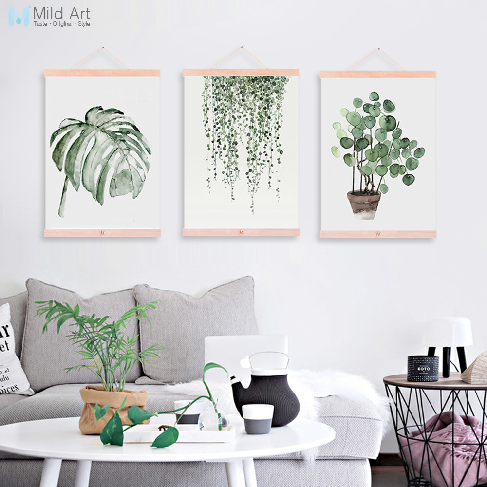Watercolor Green Plant Leaf Poster A4 Wooden Framed Canvas Painting ...