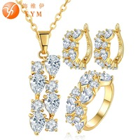 FYM Clear White Cubic Zirconia Jewelry Sets Yellow Gold Plated Crystal Pendant Necklace Earrings Ring Sets