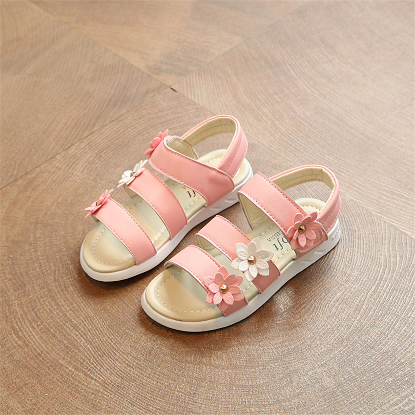 2018 Gilrs Sandals Summer Shoes for Kids Pink Flower Princess Student School Gladiator Childrens Casual Shoes Size 21-36