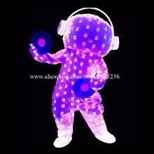 Полный Цвета светодиод мигает подсветкой костюм Костюмы свет David Guetta LED робот Костюмы партии этап Хэллоуин
