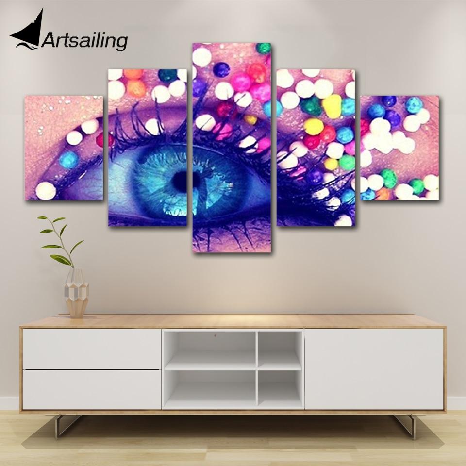 2019 Nieuwste Ontwerp Artsailing Hd Print Schilderij Kapsalon Foto's Manicure5 Stuk Canvas Kunst Ingelijst Schoonheidssalon Make Up
