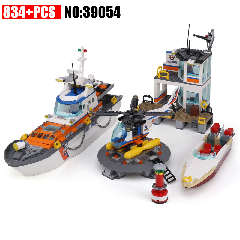 39054 834Pcs City Series Police Coast Guard Headquarters Base Building Blocks Toy With DIY Educational Toys Compatible 60167