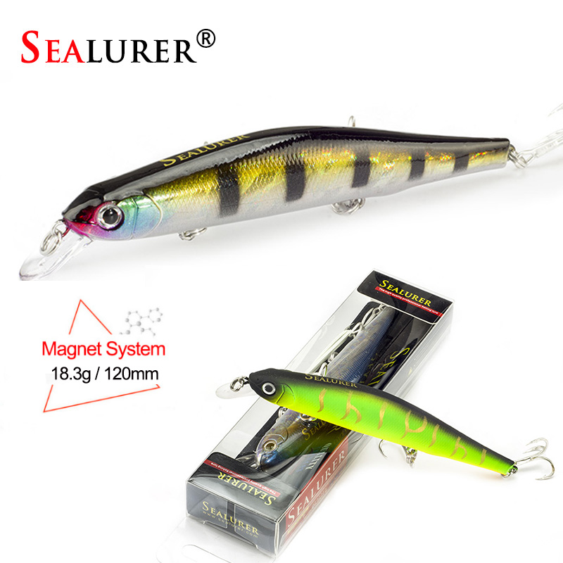 SEALURER Boxed Fishing Wobbler 18.3g/120mm Minnow Pike Bass Magnet System Fishing Lures with 6#Owner Hook Peche Isca Artificial allblue new mag drive longcast wobbler 17 5g 110mm suspend minnow pike bass fishing lure with 6 hook peche isca artificial