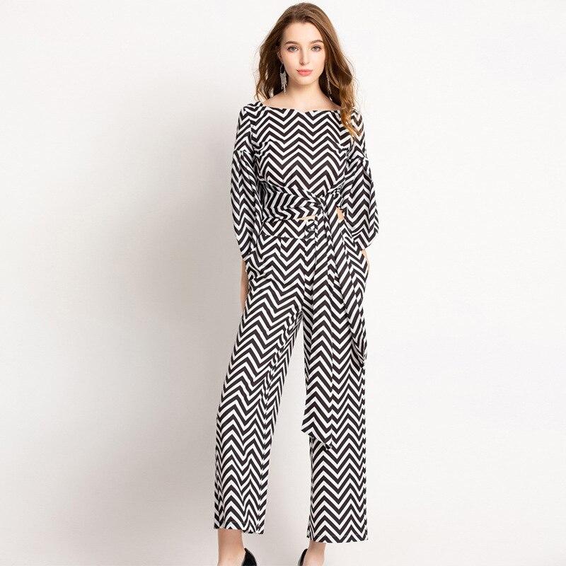 2019 printemps et été nouveau femmes étoiles même imprimé lanterne manches tissu + imprimé jambes larges pantalons ensemble