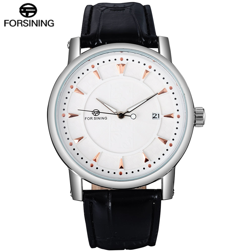 FORSINING Men Watches Luxury Classic Leather Auto Mechanical Watch Complete Calendar Clock Relogio Masculino 2015 forsining relogio pmw342