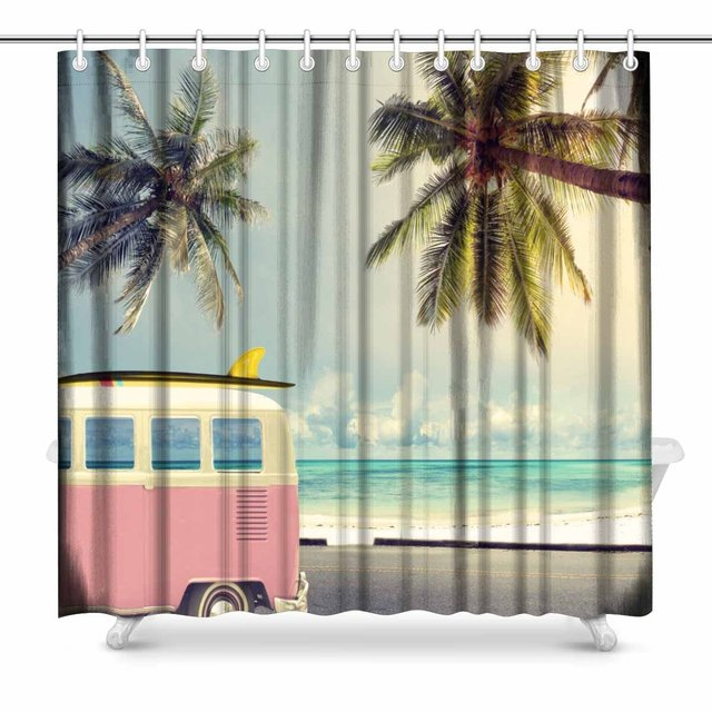 Aplysia Vintage Car In The Beach With A Surfboard On Roof Art Decor Print Bathroom Decorations Fabric Shower Curtains