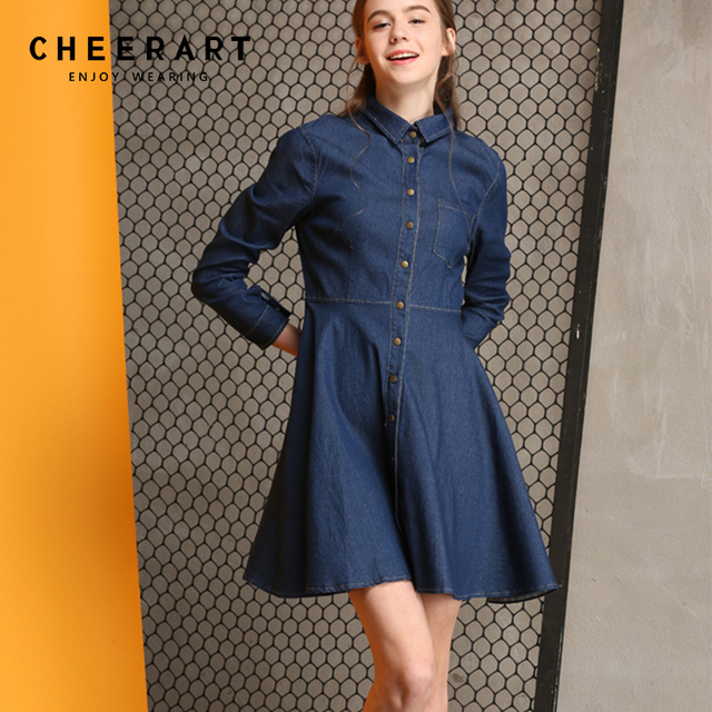 bb6390b2e52 Cheerart Spring Denim Dress Women Long Sleeve Tunic Shirt Dress Button A  Line Swing Mini Jeans Dress Robe Femme Clothes