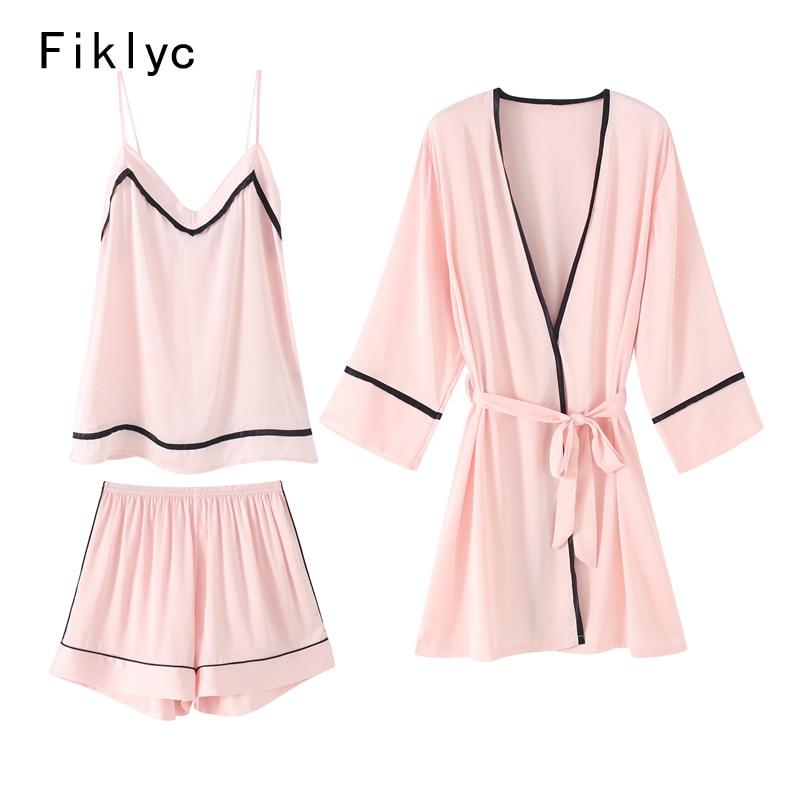 Fiklyc brand fresh design woman's fall season beautiful short pants   pajamas     sets   three-pieces satin female luxury homewear HOT