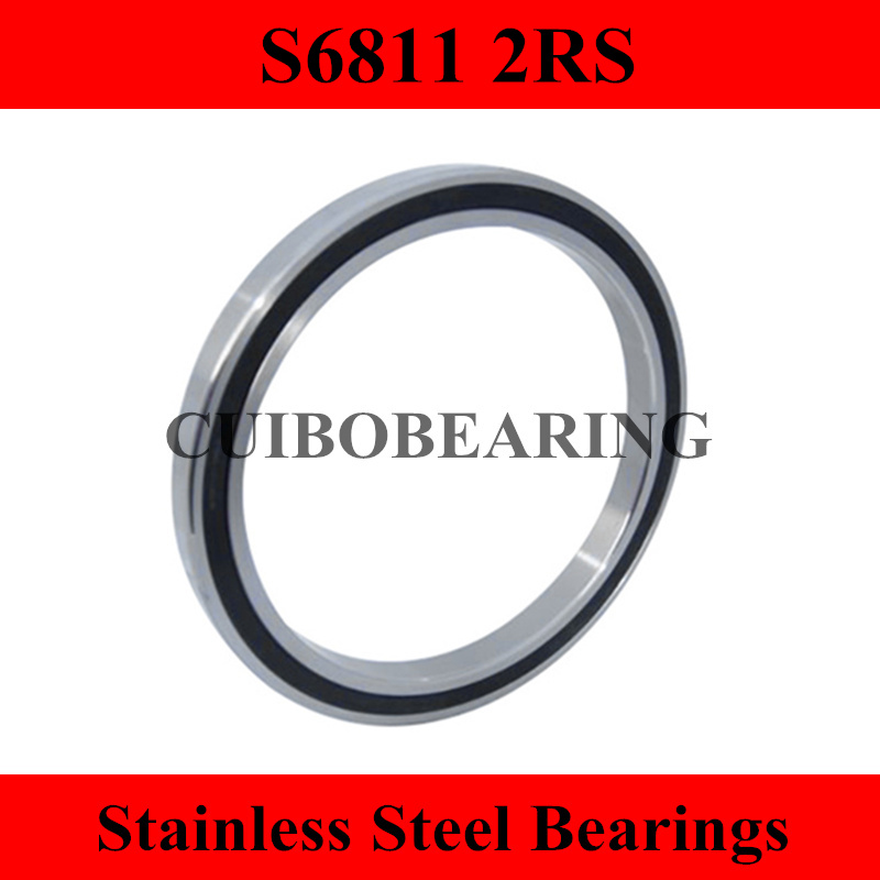 Free Shipping  2PCS S6811 2RS  Stainless Steel Shielded Miniature Ball Bearings S6811 size:55*72*9mm free shipping s6811 zz stainless steel shielded miniature ball bearings s6811zz size 55 72 9mm