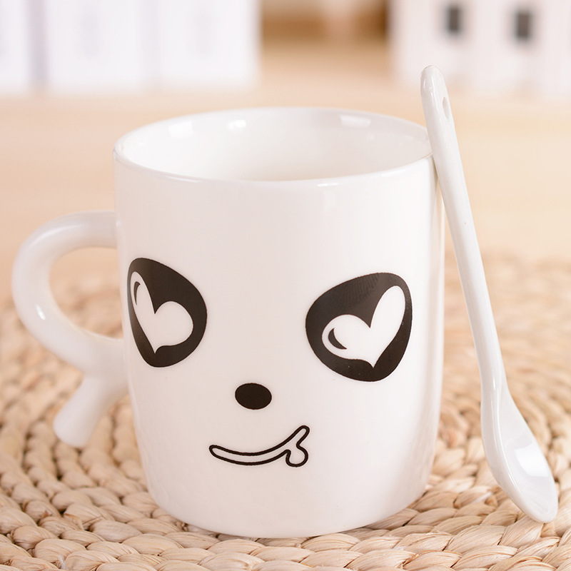 Cute Cups online shop cute cartoon panda face cup with spoon couple cups and