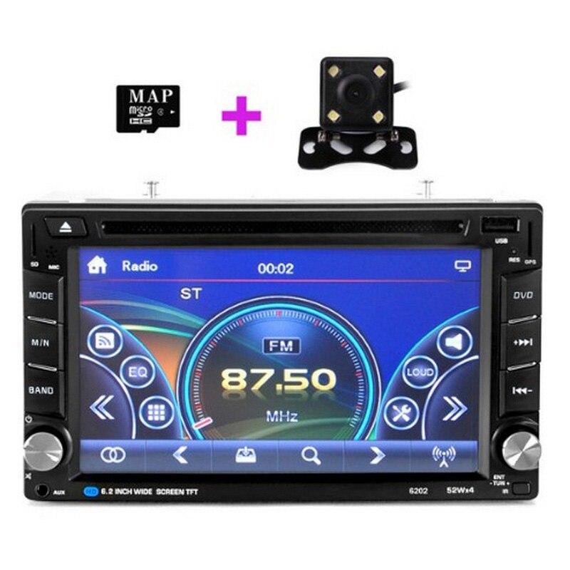 Universel 6.2 pouces voiture GPS Navigation écran tactile autoradio lecteur multimédia Bluetooth avec caméra arrière entrée navigateur FM