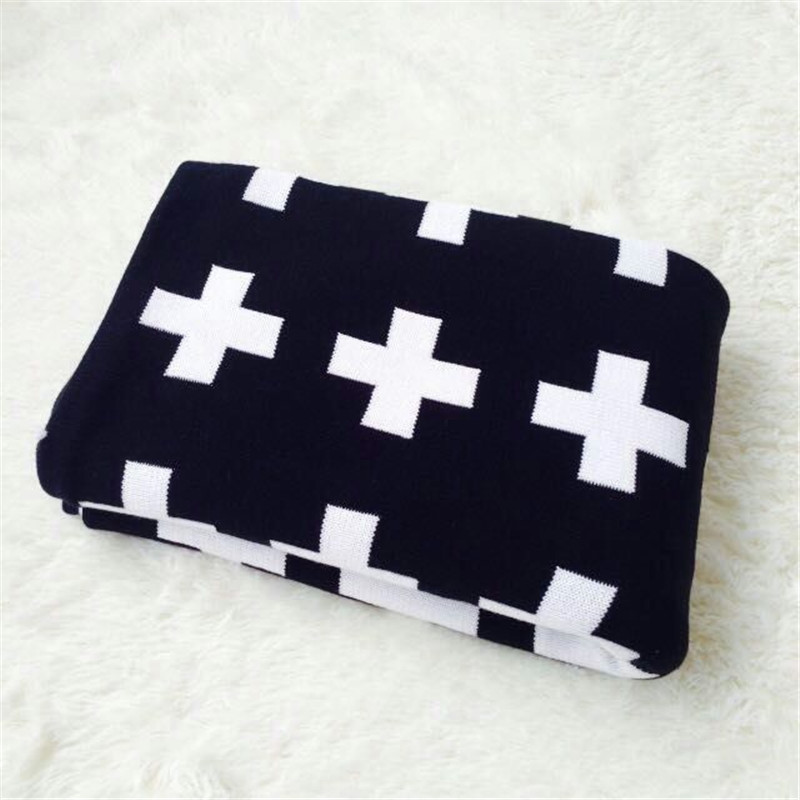 2018 Original Brand 100% Cotton Black And White Cross Blanket Newborn Swaddle Baby Bedding Baby Knitted Blankets Cama Play Mat