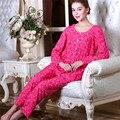 Conjuntos mulheres pijama de algodão Outono e inverno Manga Longa femme homewear pijamas mujer vestido de noite em casa da mãe terno Plus Size pijama