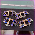 Free ship! 30pcs of Gold color bracelet connector, Society Union greek letter Rhinestone SGRHO Sigma gamma rho connector