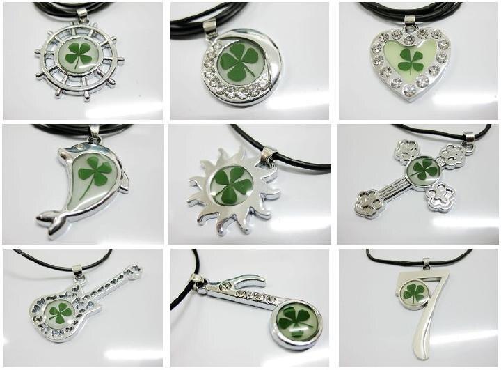 Envío Gratis 48 piezas mezcla elegante collar de trébol de cuatro hojas forma de tótem Vogue muestra de planta real-in Collares colgantes from Joyería y accesorios    2