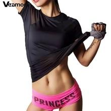 VEAMORS Черная стильная спортивная быстросохнущая футболка в плотную сетку для бега, фитнеса и занятий в спортивном зале