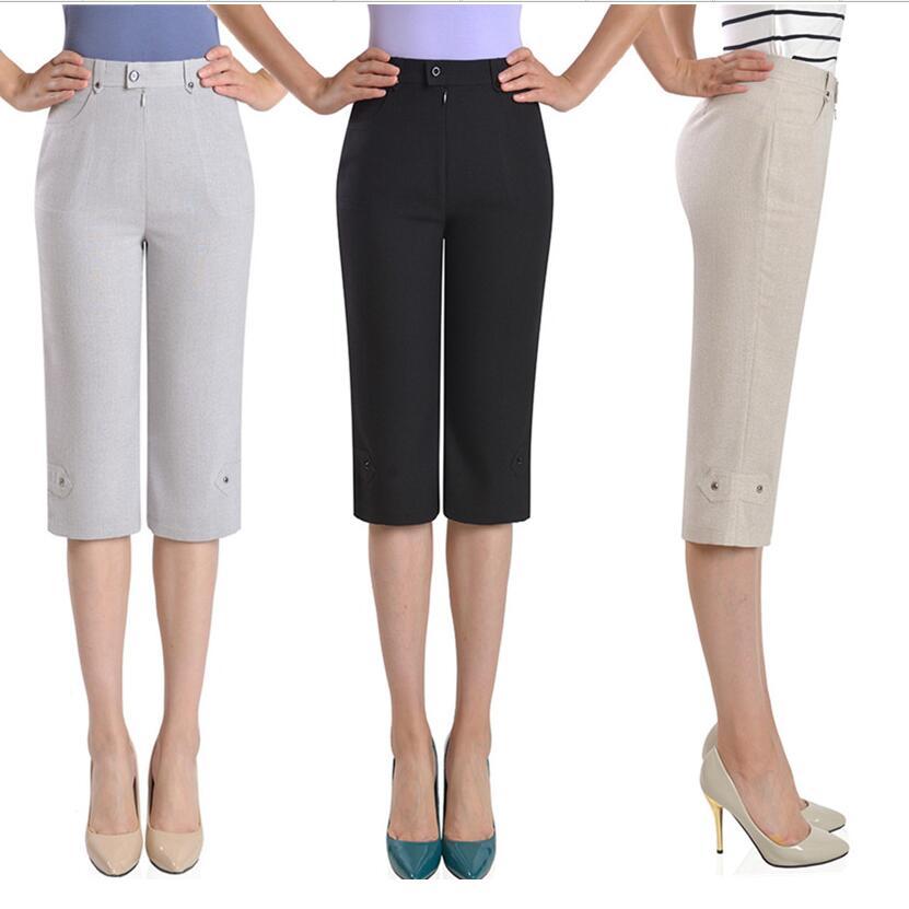 2019 été femme pantalon Capris femmes pantalon taille haute pantalon droit grande taille décontracté Capris pantalon femmes LY210