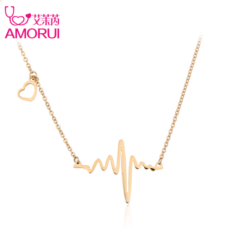 Amorui heartbeat women heart stethoscope pendant necklace stainless amorui trendy ladies heart necklaces pendant stainless steel silver rose gold chain necklace women fashion jewelry mozeypictures Image collections