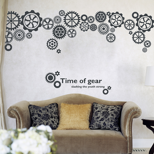 [SHIJUEHEZI] Customized Wheel Gear Wall Sticker Vinyl DIY Wall Decals DIY Home Decor for Living Room Bedroom Decoration
