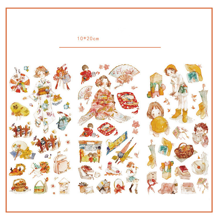 3pcs/lot Kawaii Tokyo Girl Journal Decorative Stickers Set Scrapbooking Stick Label Diary Japanese Stationery Album Stickers