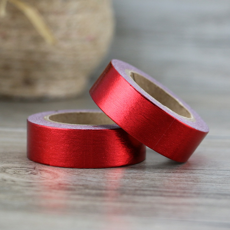 2 Pcs Cute Red Solid Foil Washi Tapes Japanese Paper 1.5cm*10m Scrapbooking Christmas Masking Tapes Photo Album Decorative Tapes