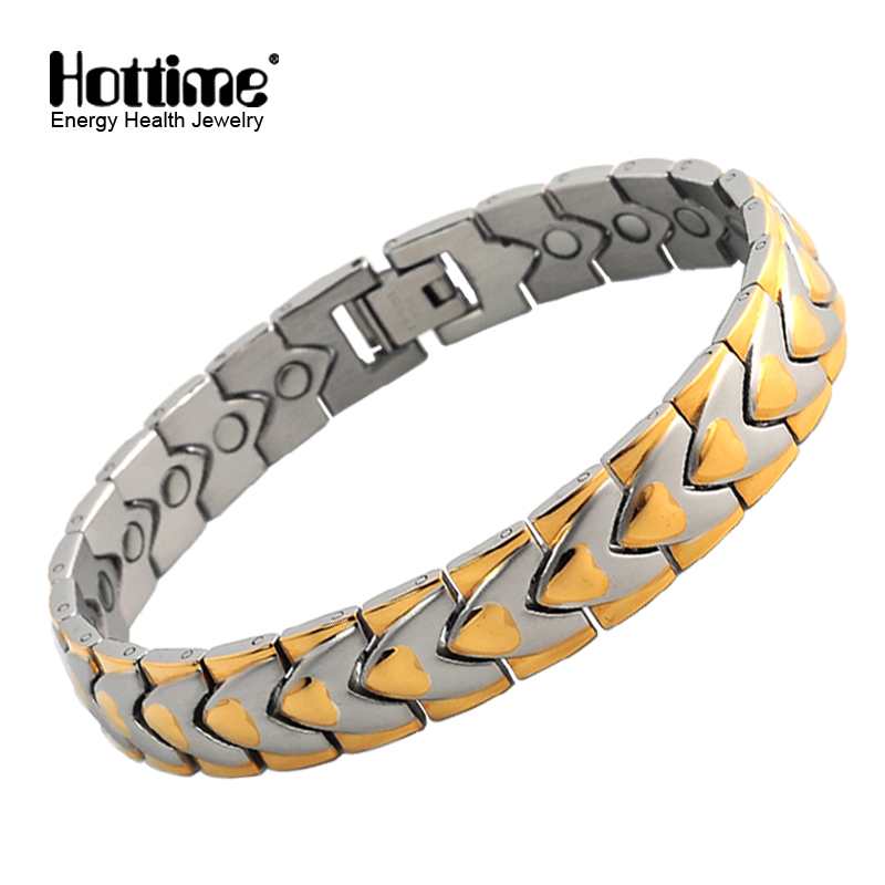 Fashion Healthy Magnetic Bracelets & Bangles Stainless Steel Jewelry For Men And Women Wholesale Mens Hand Chain Plated Gold