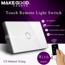 US Stanard 433Mhz 1 Gang 1 Way Crystal Glass Intelligent Touch Free Remote Wall Light Switch With Remote Controller Smart Home