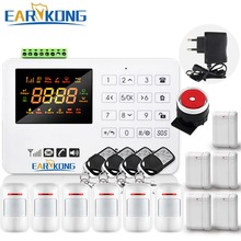 Hot Selling Free Shipping  wholesale Wireless  GSM Alarm System 433MHz Home Burglar Security Alarm System Touch Keyboard