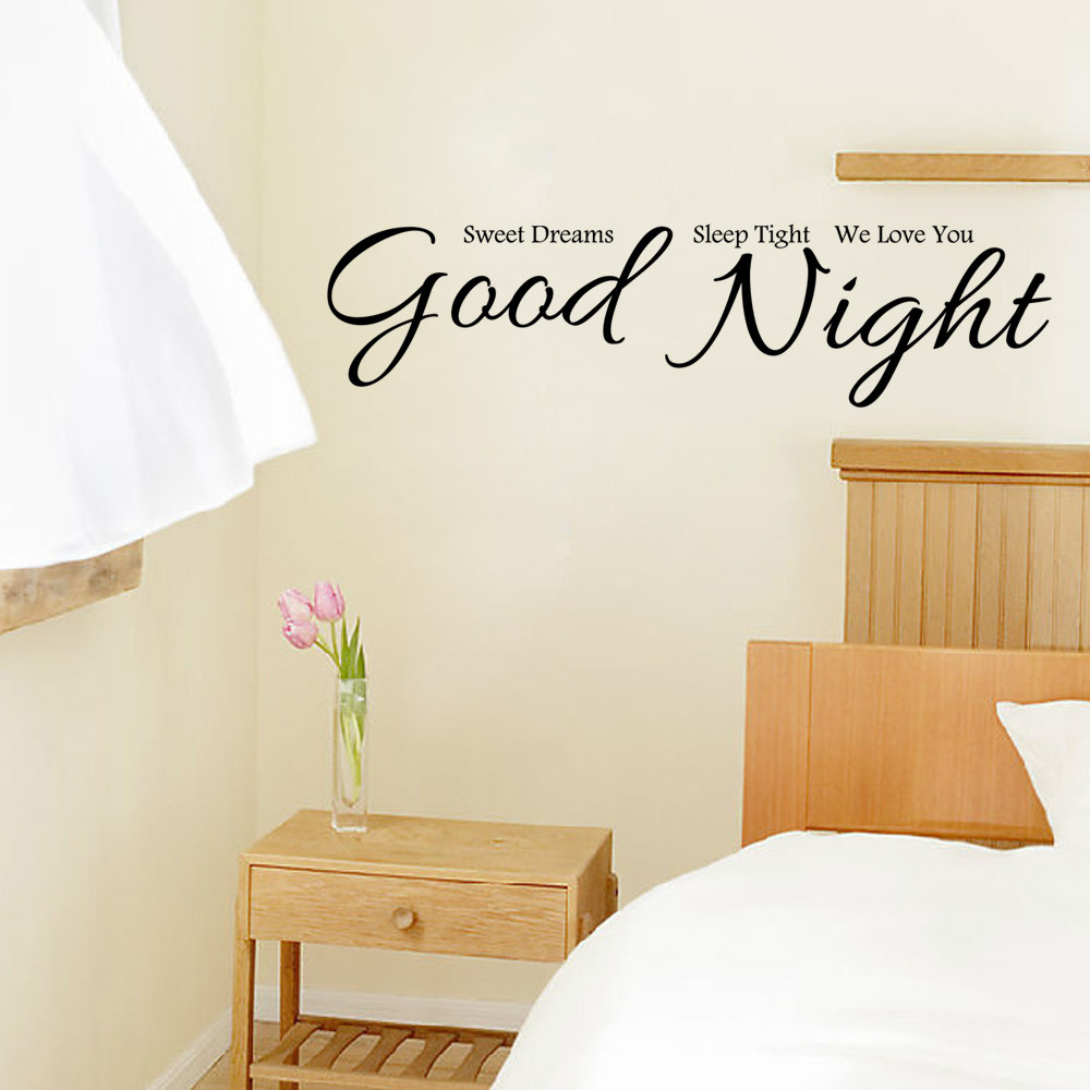 Good Night We Love You Vinyl Quote Wall Sticker Removable Adhesive Words Art Murals Home Decor