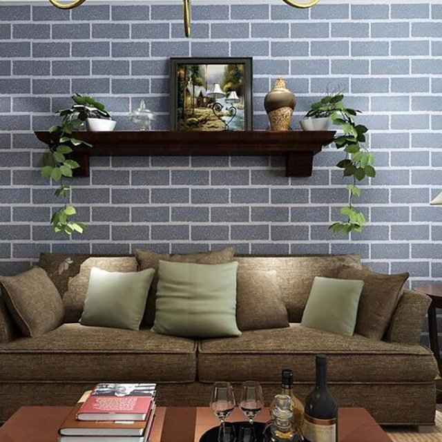 Thick Heavy PVC Wall Paper Rustic Pattern Faux Textured Brick Effect Wallpaper For Bedroom And