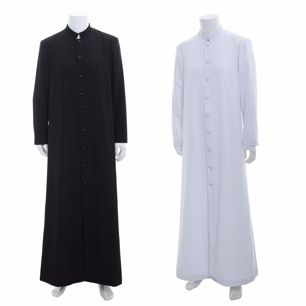 Cosplaydiy Medieval Wicca Pagan Ritual Robe Costume Clergy Cassock Roman Orthodox Long Tabard Robe Single Breasted Button Coat