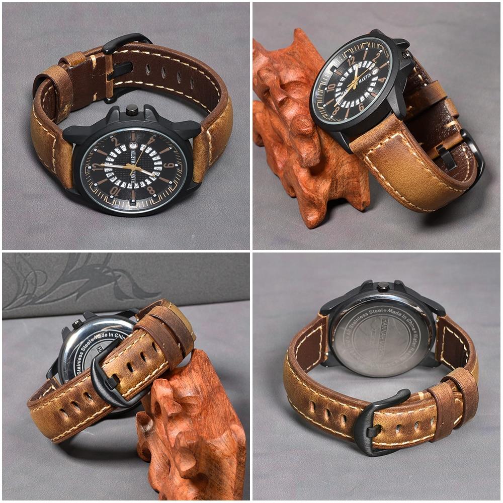 Image 3 - Beafity Crazy Horse Calfskin correa de reloj de cuero 20mm 22mm 24mm correas de reloj marrón claro Negro Azul verde cinturónCorreas de reloj   -