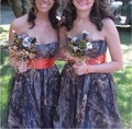 Camoflage Orange Mossy Oak Camo Bridesmaid Dresses 2017 New Custom Made Plus Size Maid of Honor Dress Short Wedding Party Gowns