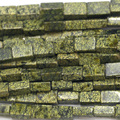 "Genuine Natural Green Serpentine Square Rectangle Shape Loose Stone Beads Fit Jewelry DIY Necklaces or Bracelets 15"" 03759"