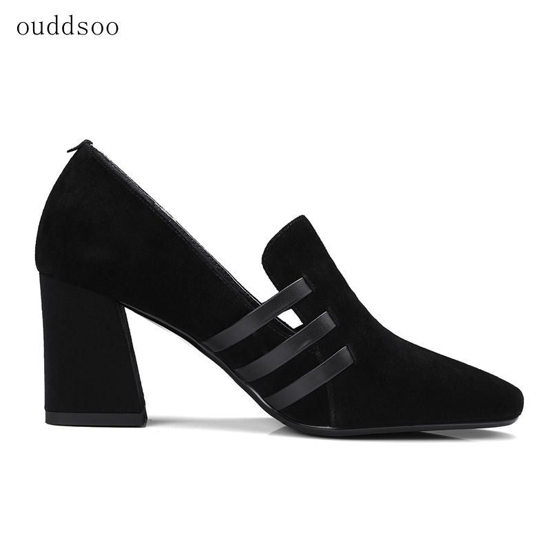 2018 spring and autumn new single shoes simple fashion thick with women's shoes hollow leather high heels factory direct sales 2016 spring new european and american fashion shoes thick with fish head shoes nightclub new ultra high heels sandals b454