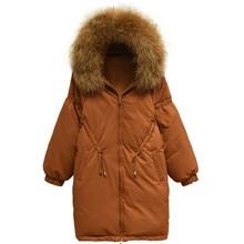 2018 Parkas Mujer plus size real fur collar women's winter jackets Drawstring waist caramel color female padded warm jacket